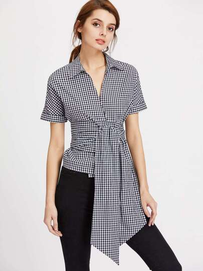 Collared Surplice Front Gingham Obi Belt Wrap Blouse