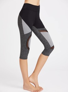Color Block Mesh Panel Marled Knit Crop Leggings