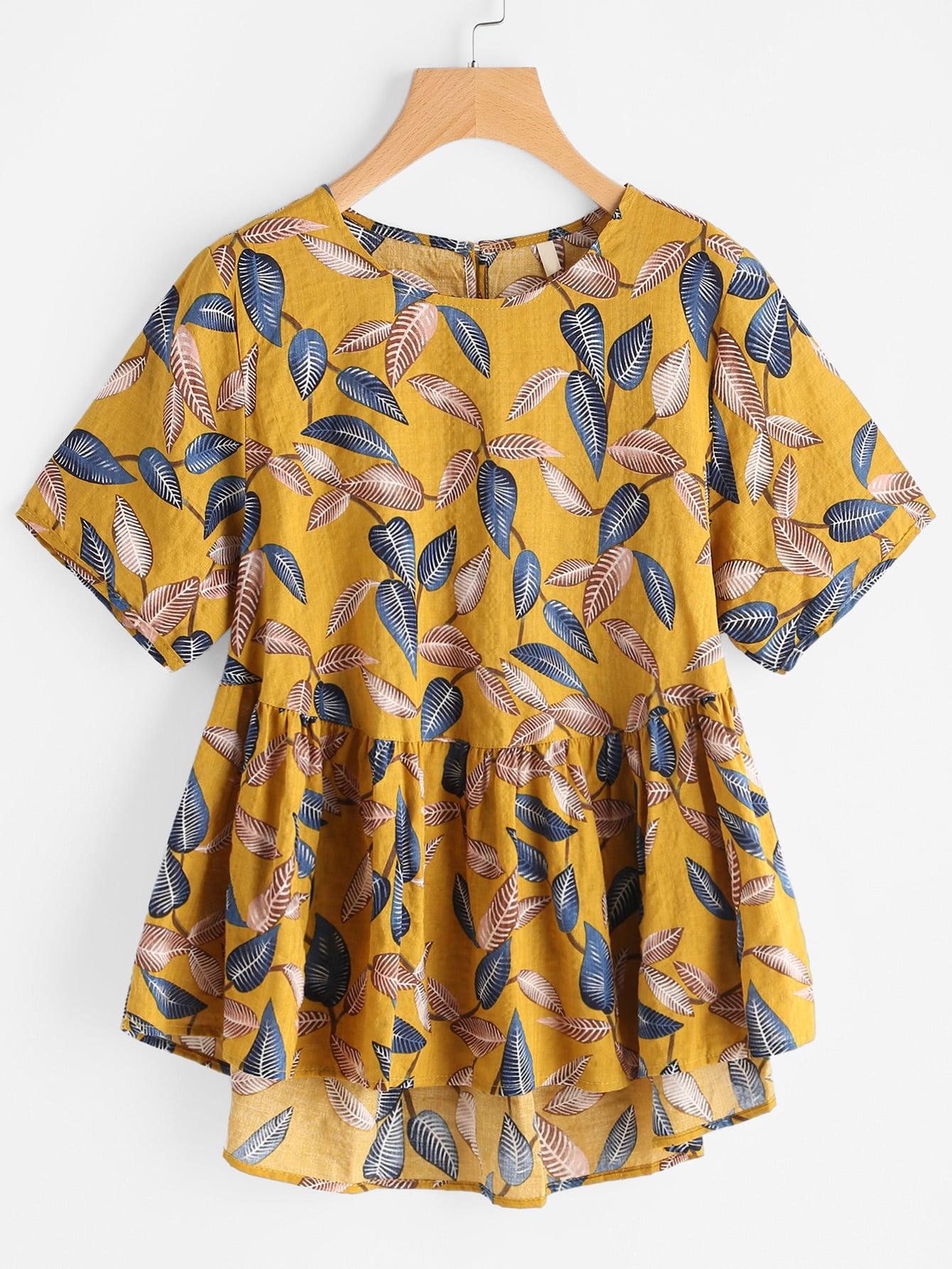 Leaf Print Keyhole Back Dip Hem Smock Blouse zipper back dip hem peplum blouse