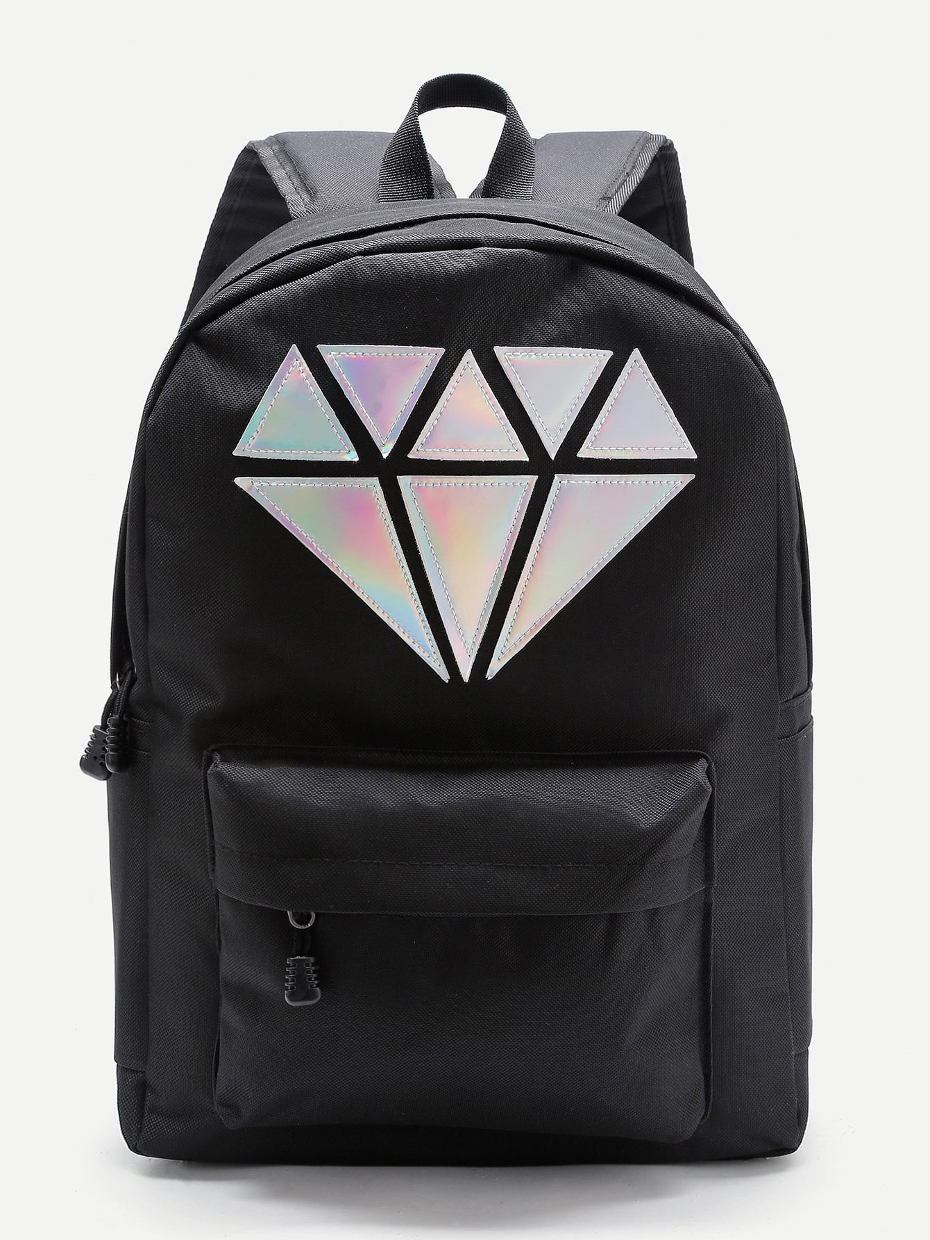 Фото Metallic Diamond Patch Pocket Front Backpack. Купить с доставкой