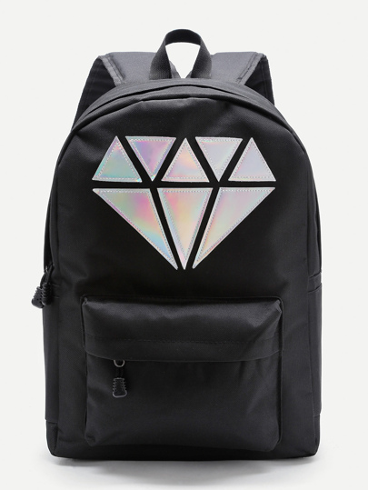 Metallic Diamond Patch Pocket Front Backpack