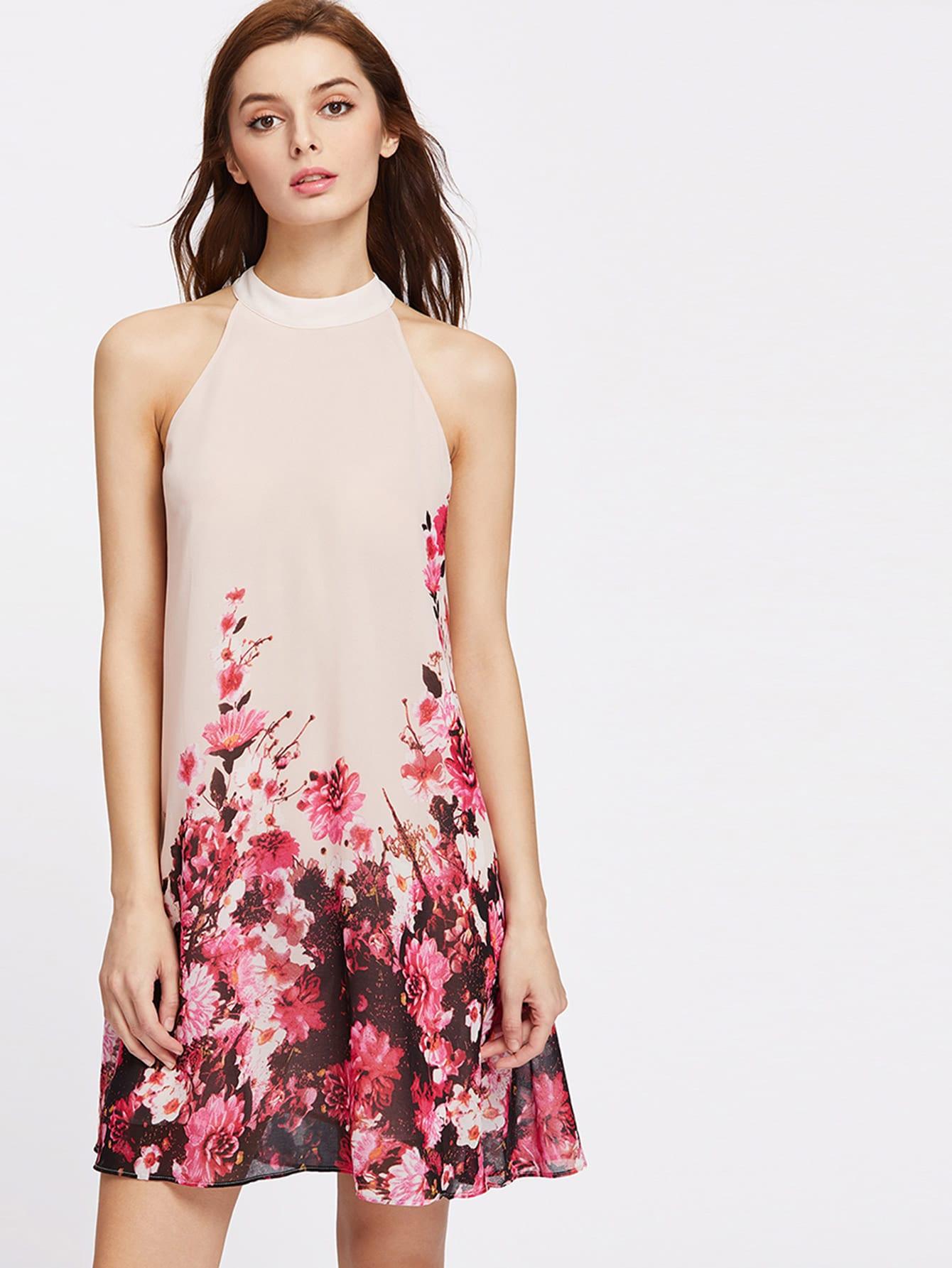 Фото Floral Print Buttoned Keyhole Halter Neck Dress. Купить с доставкой