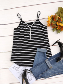Black White Striped Zip Front Cami Top