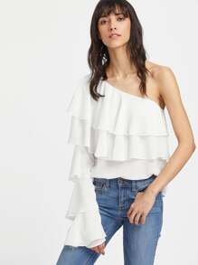 One Shoulder Tiered Flounce Top