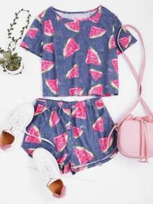 Watermelon Print Frayed Dot Tee And Shorts Set