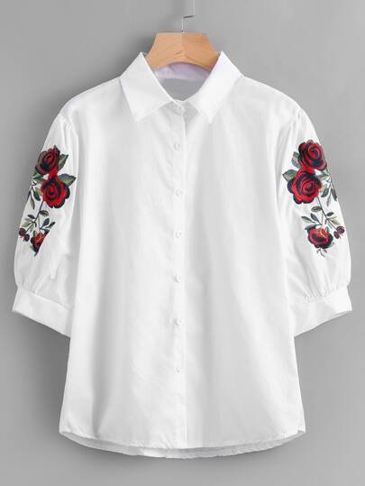 Symmetrical Embroidered Puff Sleeve Blouse