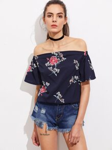 Top floreale in chiffon