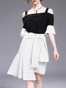 Strap Ruffle Sleeve Top With Striped Asymmetric Skirt