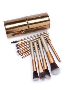 Delicate Makeup Brush Set With PU Storage Bucket