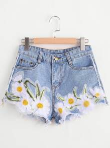 Sunflower Appliques Ripped Frayed Hem Denim Shorts