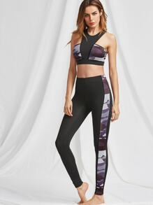Camouflage Print Racer Sports Bra And Leggings Activewear Set