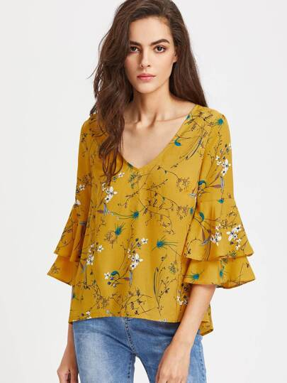 Layered Trumpet Sleeve Keyhole Tie Back Botanical Top