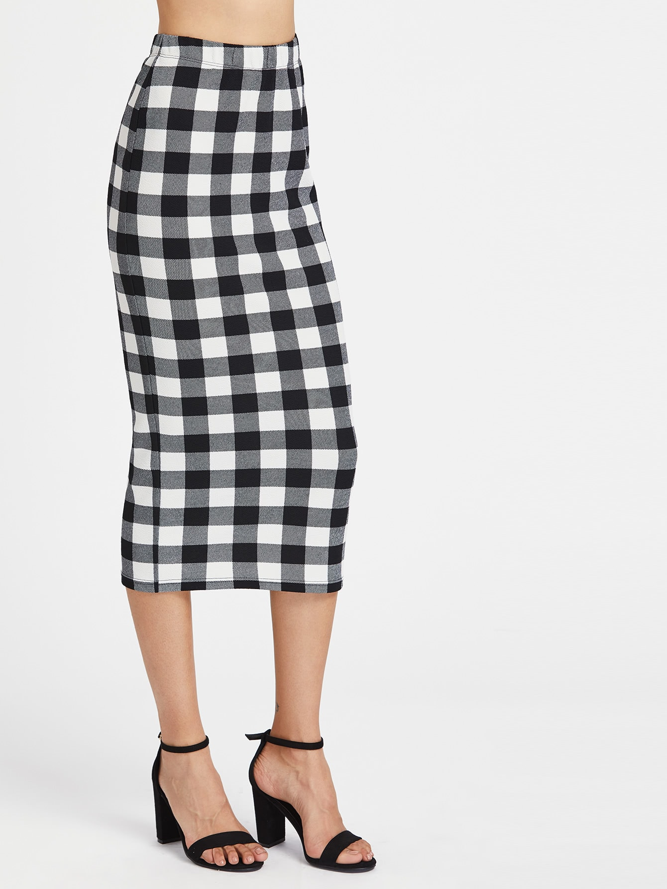 Elasticized Waist Checkered Midi Pencil Skirt elasticized waist swing skirt