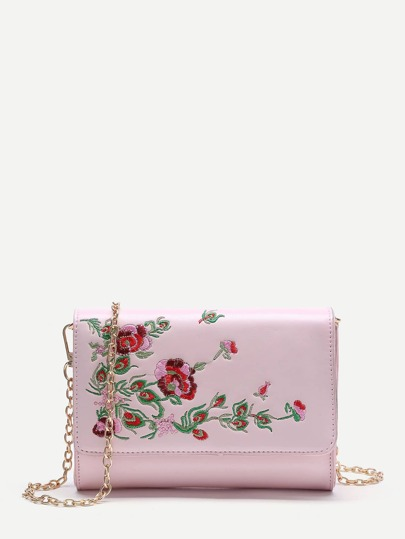 Flower Embroidery PU Crossbody Bag