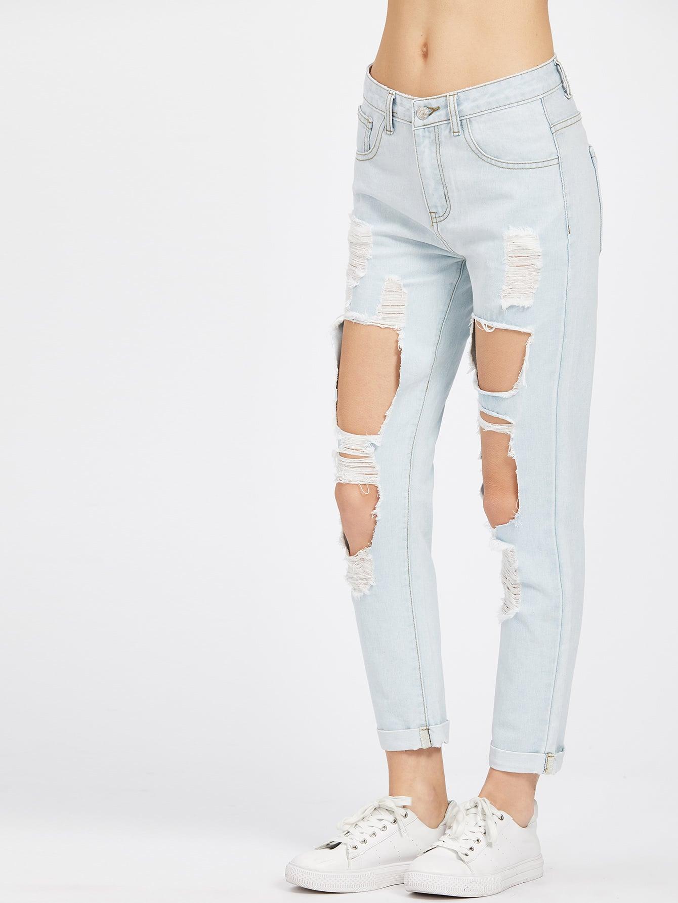 Фото Light Wash Cuffed Hem Cutout Boyfriend Jeans. Купить с доставкой