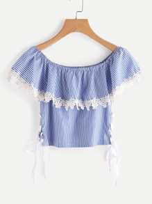 Boat Neckline Pinstripe Lace Up Side Contrast Lace Top