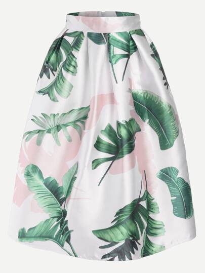 Leaf Print Zipper Back Box Pleated Skirt