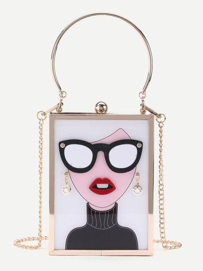 Character Pattern Chain Crossbody Bag With Ring Handle