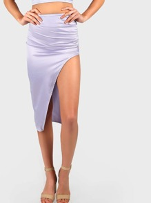 Ruched Satin High Slit Skirt LAVENDER