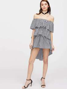 Off Shoulder Checkered High Low Layered Dress