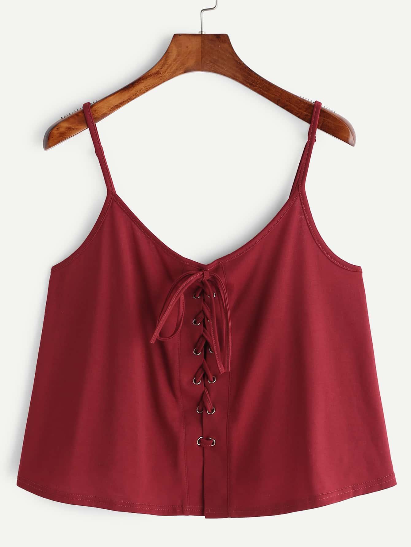 Lace Up Crop Cami Top vest170404001