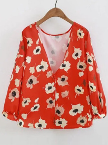 V-Neckline Flower Print Single Breasted Blouse