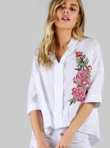 Collared Flower Embroidered Quarter Sleeve Shirt WHITE