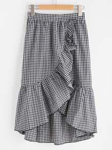 Falda de cuadros con ribete de volantes asimétricos