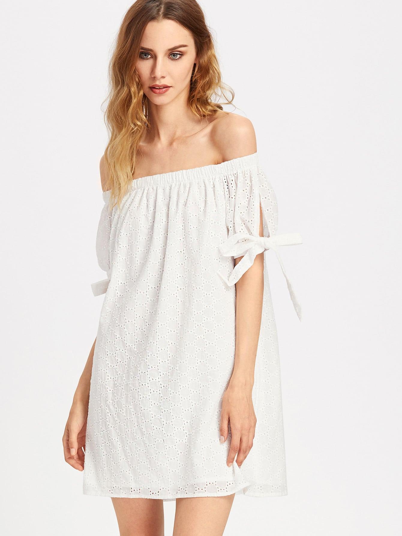 все цены на Bardot Eyelet Embroidered Split Tie Sleeve Dress