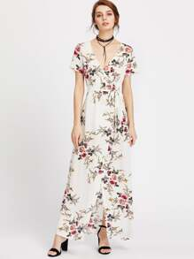 Botanical Print Surplice Front Self Tie Dress