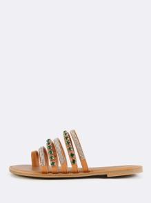 Bejeweled Slip On Sandals TAN