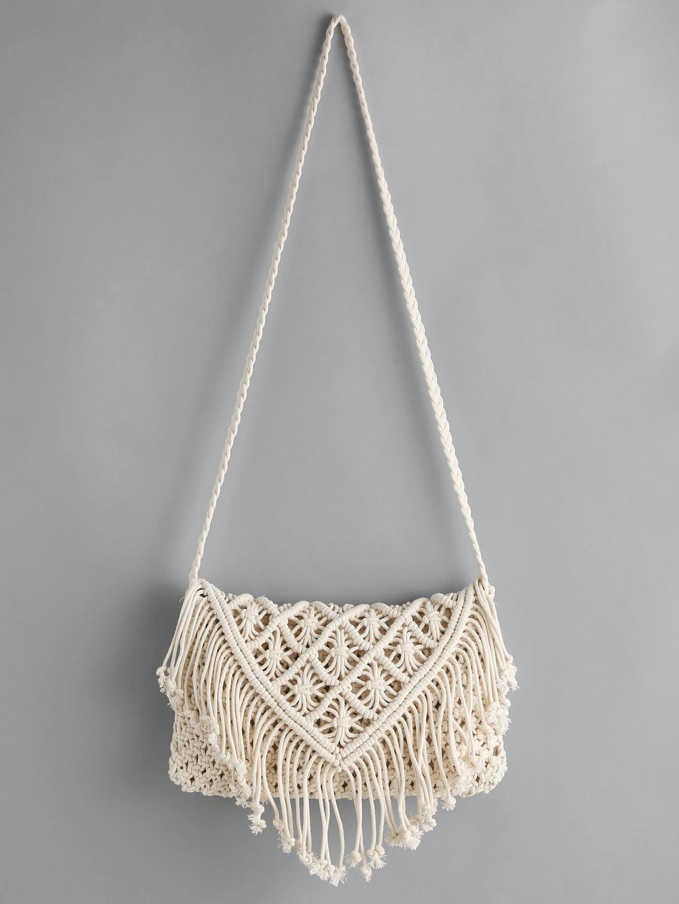 Фото Crochet Hollow Out Tassel Bag. Купить с доставкой