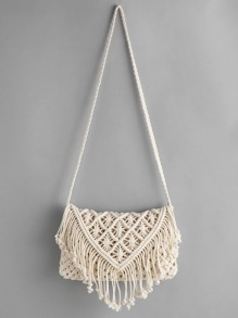 Crochet Hollow Out Tassel Bag