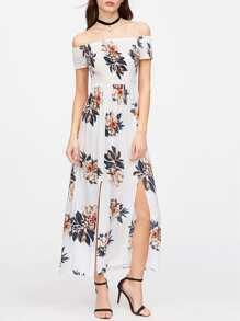 Flower Print Off Shoulder M-Slit Smocked Dress