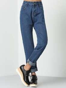 Синий брюки с высокой талией