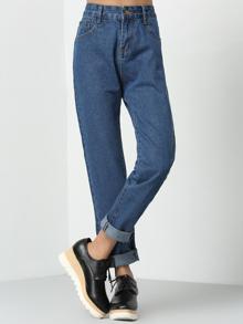 pantalon taille haute en denim - bleu