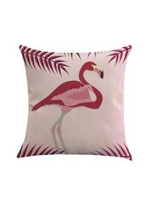 Housse de coussin pour imprimé Flamingo et Feuille