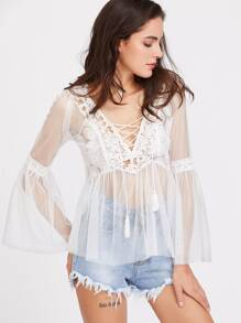 Contrast Crochet Lace Up Sheer Mesh Top