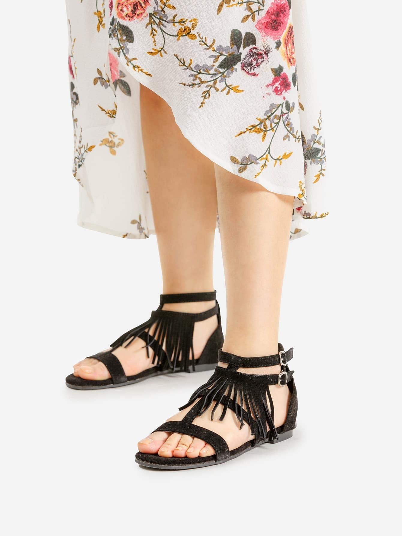 Фото Tassel Decorated Double Buckle Flat Sandals. Купить с доставкой