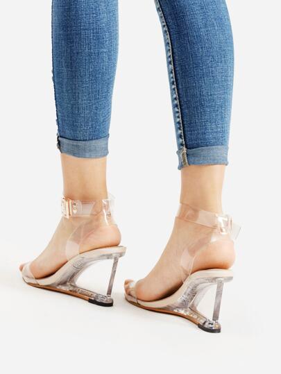 SheIn / Metal Buckle Strappy Wedge Sandals