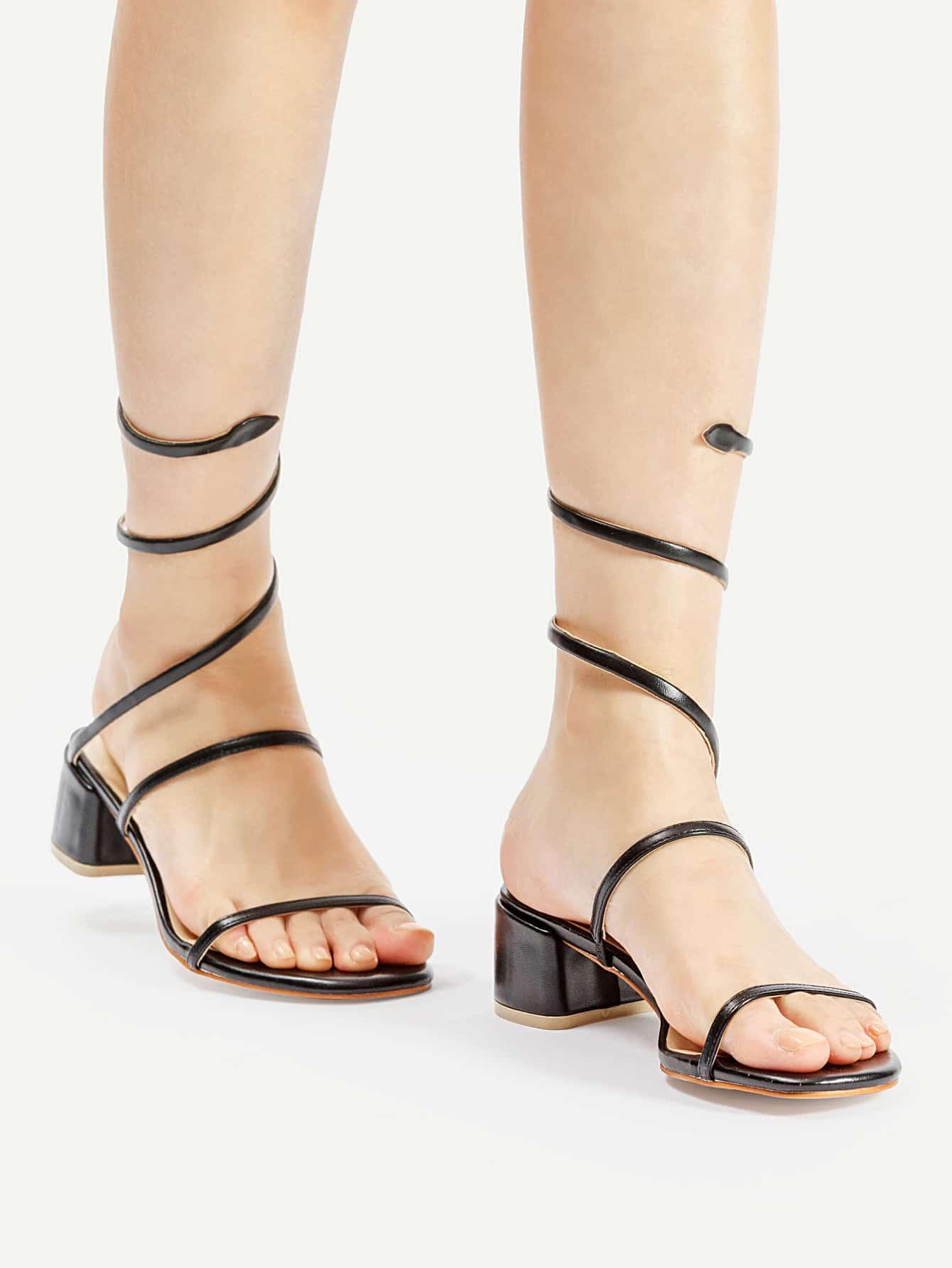 Фото PU Strap Around Chunky Heeled Sandals. Купить с доставкой