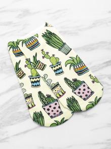 Socquette invisible imprimé des cactus