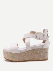 Sandales tisées croisées avec le zip