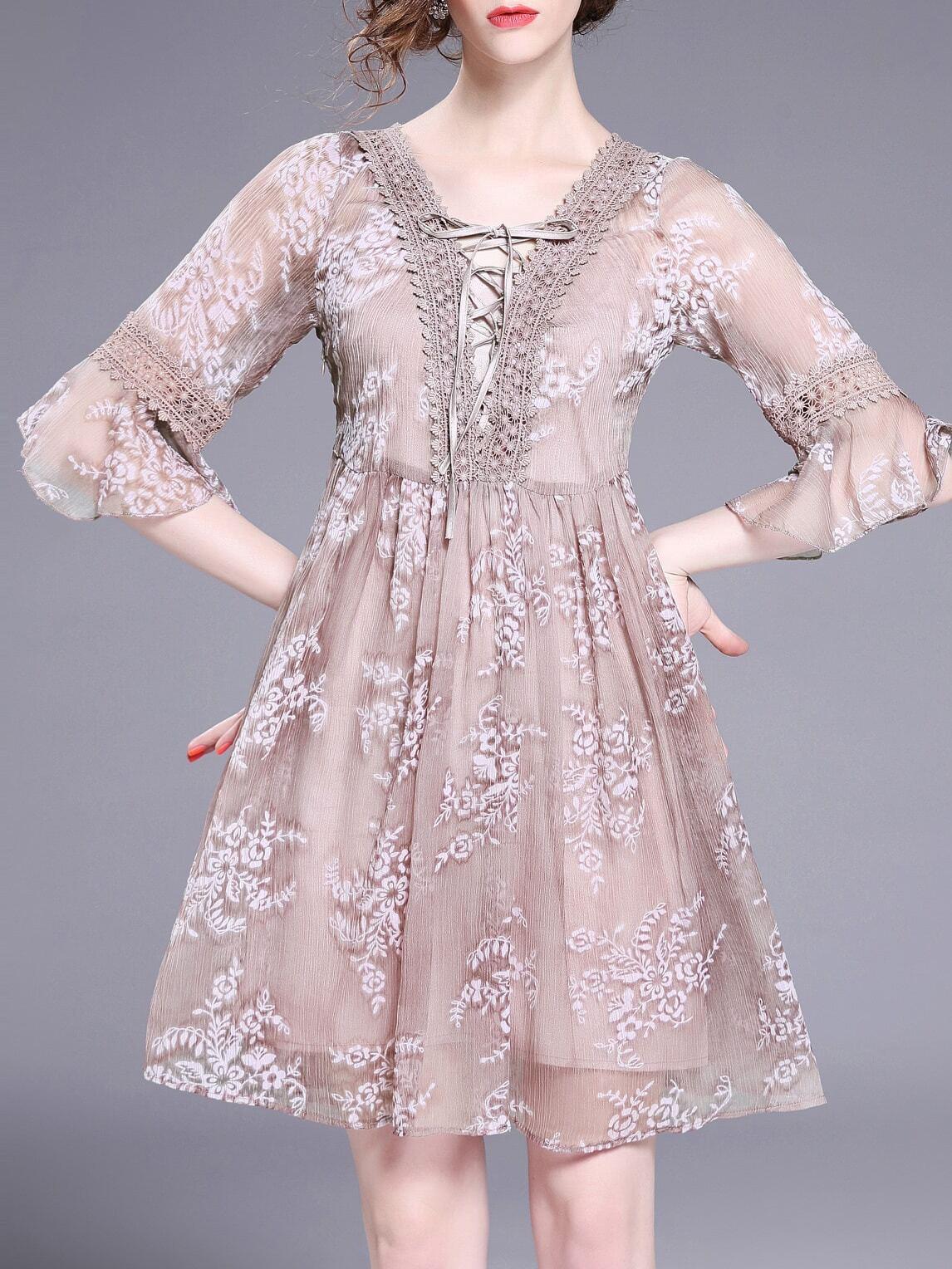 Фото Lace Up Bell Sleeve Print Dress. Купить с доставкой