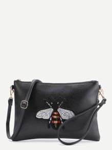 Bolso con parche de bordado de abeja