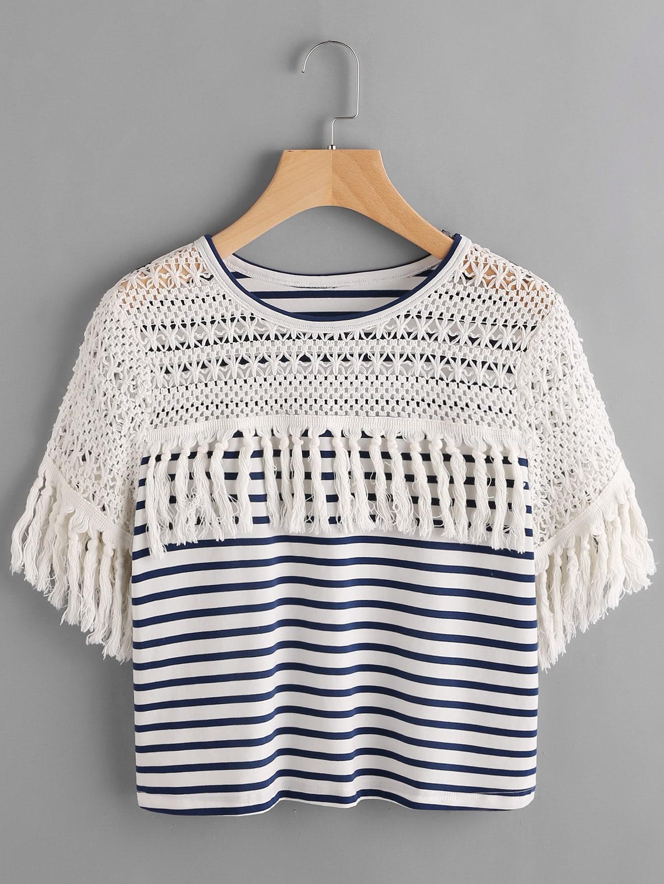 Фото Striped Crochet Shoulder Tassel Trim T-shirt. Купить с доставкой