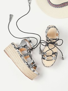 Snake Print Lace Up Espadrille Flatform Sandals