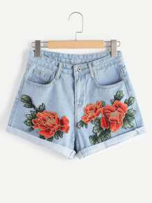 Denim Shorts applique Blume falten