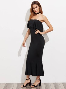 Tiered Hem Flounce Trim Bandeau Dress