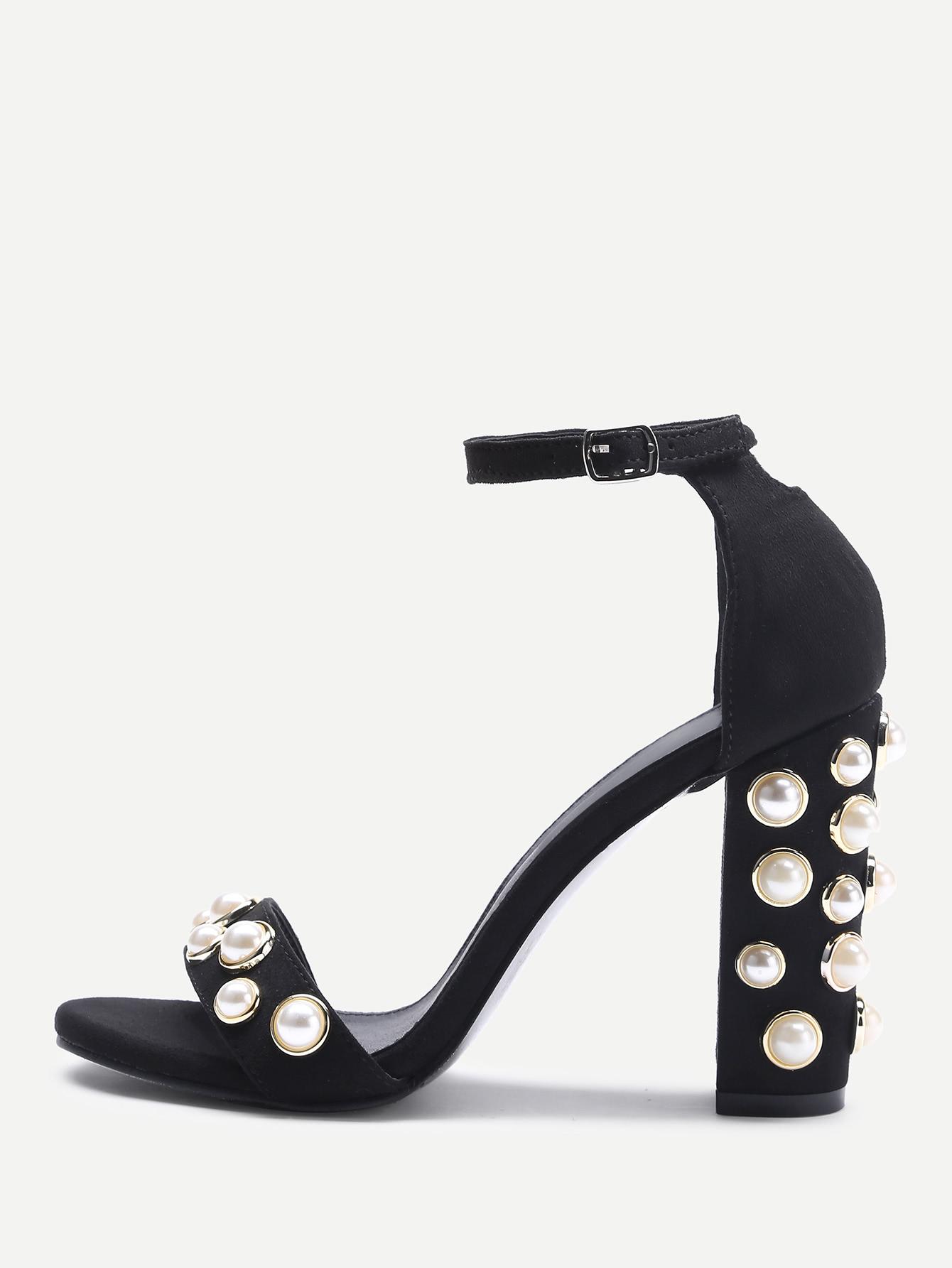 Фото Faux Pearl Decorated Two Part Block Heel Sandals. Купить с доставкой
